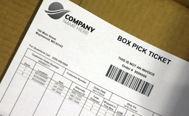 Box pick ticket